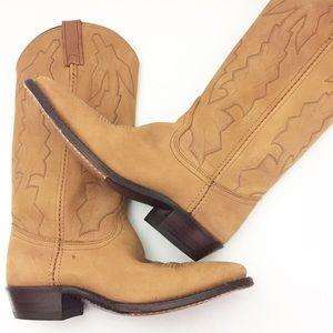 Dan Post Tan Leather Cowboy Boots Womens Sz 7 1/2